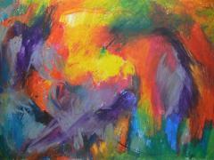 """Parvada"", ceras sobre papel, 65 x 100 cm, 2008"