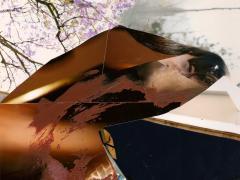 """""""Sobre el paisaje #7"""", acrílico y ceras sobre collage fotográfico, 13 x 17,5 cm, 2010"""